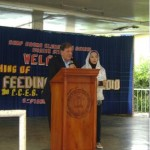 On September 1, 2010 AAI President Al Santoli and Philippine AAI Director Bae Rohaniza Sumndad address the Community Service Feeding project at Camp Crame Elementary, created at the Peace Caravan event.